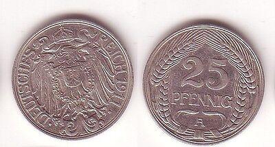 25 Pfennig Nickel Münze Deutsches Reich 1911 A  (109532)