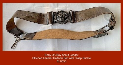 "1940 UK Scoutmaster ""BE PREPARED""  - Clasp Buckle stitched leather uniform belt"