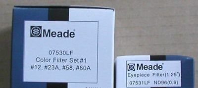 NEW 5 Meade telescope eyepiece filters 4 colored and one moon filter