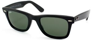 Ray Ban RB 2140 Original Wayfarer 901 Black Plastic Sunglasses Green 54mm Lens
