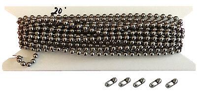 Nickel Steel Chain - 20ft. Nickel Plated Steel Vertical Blind Chain 4.5mm Ball Diameter. 5 connectors