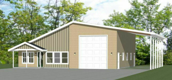 46x48 House - 2 Bedroom 2 Bath 1 RV - 1,157 sqft - PDF Floor Plan - Model 1C