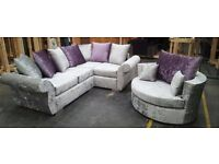 Beautifully Made New DQF Corner Sofa in Crush Velvet ONLY £499