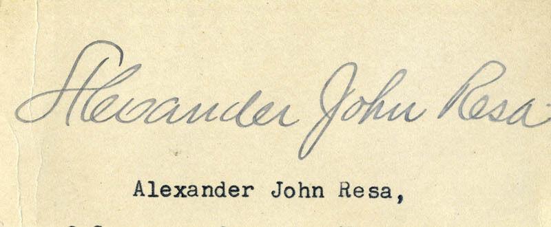 ALEXANDER JOHN RESA - CLIPPED SIGNATURE