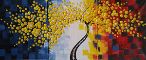 Beautiful Modern Art 3D Flowers 3 Piece Painting Set Windsor Region Ontario image 1