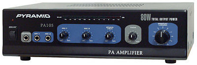 NEW Pyramid PA105 80W Microphone AC & DC 12 Volt PA Amplifier w/70V Output