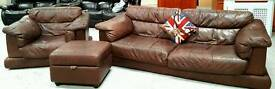 Large chunky leather sofa & chair and pouffe in good condition can. Deliver 07808222995