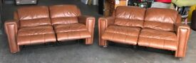 DFS Electic Recliner Brown Leather Sofa Set .CAN DELIVER