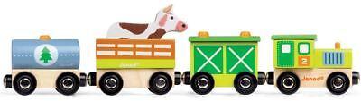 Janod FARM TRAIN Wooden Kids/Child Activity Toy BN