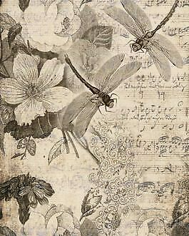 """Musical Dragonflies- 18lb Decoupage by Roycycled Treasures! 20""""x 30"""" One sheet"""