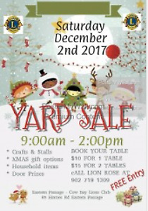 Dec 2nd XMAS Yard Sale at Eastern Passage Cow Bay Lions Club