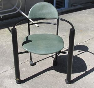 Amisco Quebec Made Arm Chair Black Metal with Green