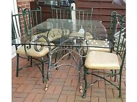 Free to Good Home Glass/Metal table & 6 Chairs