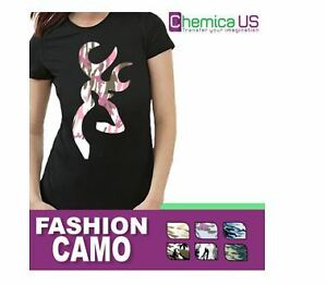 "CHEMICA FASHION ARMY CAMO HEAT TRANSFER VINYL 12""X15"" CRAFT"
