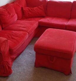 Corner sofa red
