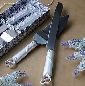 brand new Double Hearts Design Cake Knife and Sever Set