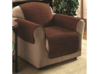 NEW. TWO BROWN CHAIR PROTECTORS