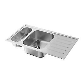 Ikea BOHOLMEN 1.5 bowl stainless steel sink and mixer taps (New)