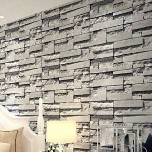 Project Wallpaper Brick Effect 3D Grey brick PVC Vinly Bradbury Campbelltown Area Preview