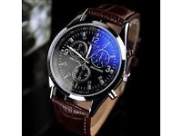 Luxury Men's Watches Internet Faux Leather Blue Ray Glass Watches Brand New (5 Avalible)