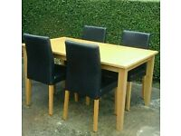 OAK TABLE & 4 FAUX LEATHER CHAIRS