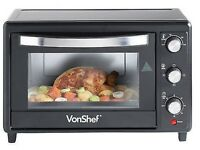 VonShef Mini Table Top Oven 30 Litre Black with Grill