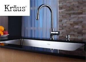 NEW KRAUS FAUCET AND SOAP DISPENSER SINGLE LEVER PULL DOWN KITCHEN FAUCET AND SOAP DISPENSER - SATIN NICKEL  81972235