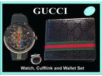 gift set - mens watch wallet pen cuflfinks new unused