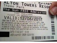 Alton towers tickets fot 12/06/2017