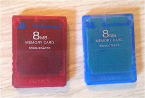 2 memory cards for PS2, 8MB