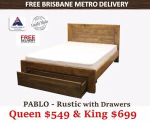 Modern TIMBER STORAGE Bed Frame SALE – Queen/King #FREE DELIVERY# Archerfield Brisbane South West Preview