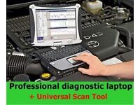 PROFESSIONAL DIAGNOSTIC SCANNER TOOL ,PANASONIC CF19 NOTE BOOK CASE AND LEADS