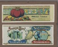 Advertising Paper Canning Labels -Sailor Boy & Mitchie Tomatoes