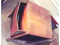 Rare versatile vintage side table or magazine rack with two side compartments