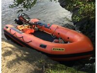 REDUCED. Humber inflatable boat not rib Yamaha outboard and trailer