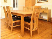 Expandable Dining Table with 6 chairs and matching side unit