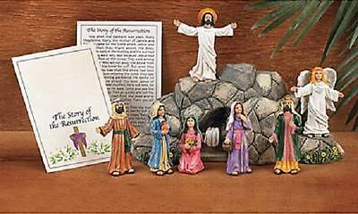 Religious Risen Jesus Resurrection Tomb & Figurines Table Easter Display