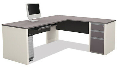 Bestar Connexion L Shape Office Desk with 3 Drawer Pedestal in Sandstone & Slate