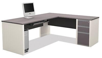 Bestar Connexion L Shape Office Desk with 3 Drawer Pedestal in Sandstone & Slate