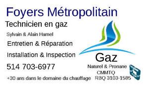 foyer au gaz propane