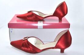 Bridal Shoes Red Satin by Rainbow Club - Maltida Design