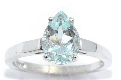 2 Ct Aquamarine Pear Shape Ring .925 Sterling Silver