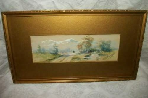 19th C. FRENCH MINIATURE WATERCOLOR PAINTING LANDSCAPE SMALL NARROW BEAUFILS