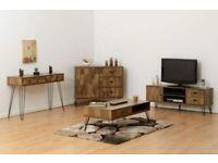 VIEW IN STORE New Dark Modern Industrial Ottawa HEX TV unit £139 W130xD39xH50cm