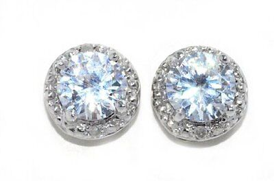 2 Ct White Topaz 6mm Round Diamond Stud Earrings .925 Sterling Silver