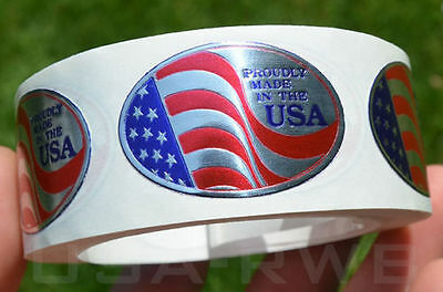 100 Proudly Made In Usa Adhesive Oval Foil Embossed Stamped Seals Labels Sticker