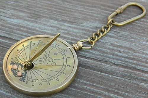 Solid Brass Sundial Key Chain & ANTIQUE Finish Sundial Key Chain – Brass Pocket