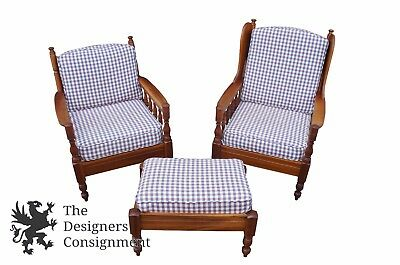 Spindle Back Cherry - Vintage 1971 Sampler Home Country Spindle Back Chairs & Ottoman Cherry Gingham