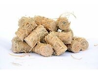 Firelighters for lighting your hardwood logs and firewood. Natural wood wool, burns for 10 minutes
