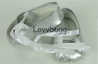 "Lovvbugg Silver Ballet Slippers Hard Toe for 18"" American Girl or Bitty Baby Doll Shoes"